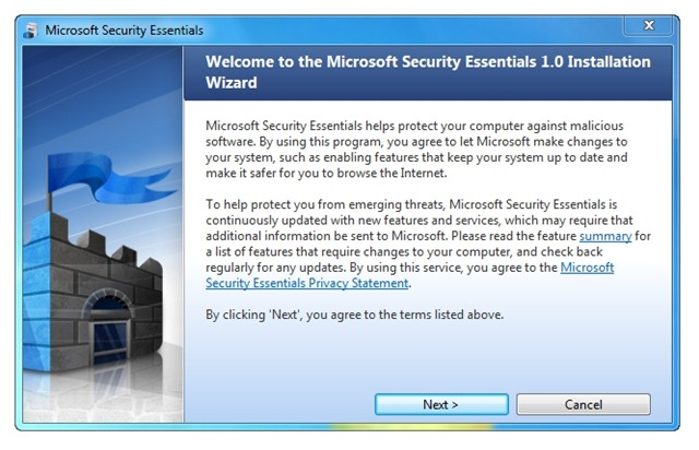 Security Essentials proposé via Microsoft Update
