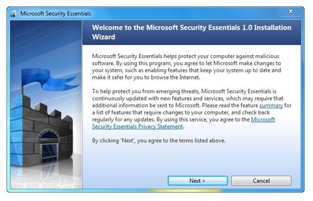 Security Essentials proposé via Microsoft Update
