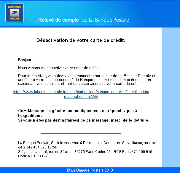 alerte phishing visant la banque postale en cours undernews. Black Bedroom Furniture Sets. Home Design Ideas