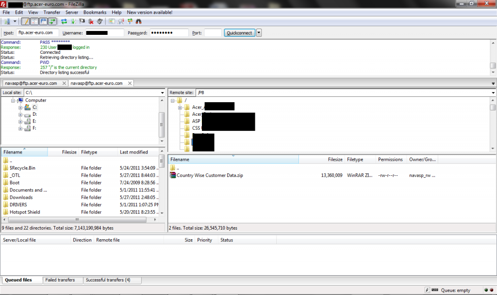 Взлом сервера компании Acer, похищены данные о 40 000 клиентов.