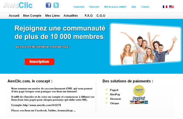 [Exclue] Le site rémunérateur de liens AwsClic de nouveau piraté !