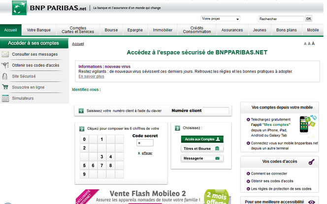 alerte phishing spam pour un site bnp paribas contrefait undernews. Black Bedroom Furniture Sets. Home Design Ideas