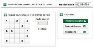Clavier virtuel BNP Paribas