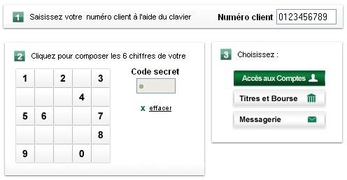 Clavier virtuel BNP Paribas