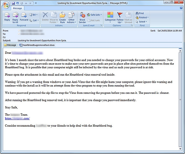 Heartbleed bug fake removal tool spam email
