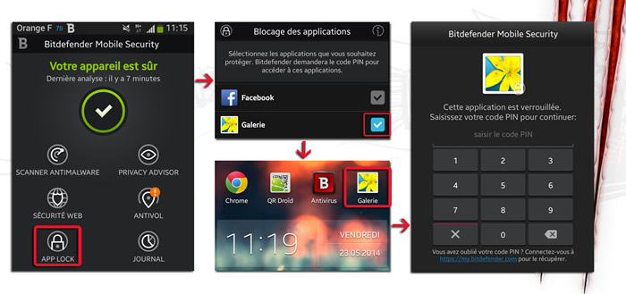 bitdefender mobile security antivirus le meilleur antivirus android undernews. Black Bedroom Furniture Sets. Home Design Ideas