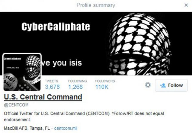 A computer screenshot shows the U.S. Central Command Twitter feed after it was apparently hacked by people claiming to be Islamic State sympathizers January 12, 2015. REUTERS/Staff